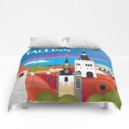 Tallinn, Estonia - Skyline Illustration by Loose Petals Comforters
