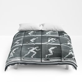 Time Lapse Motion Study Man Running Monochrome Comforters