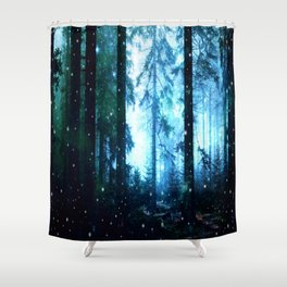 Fireflies Night Forest Shower Curtain