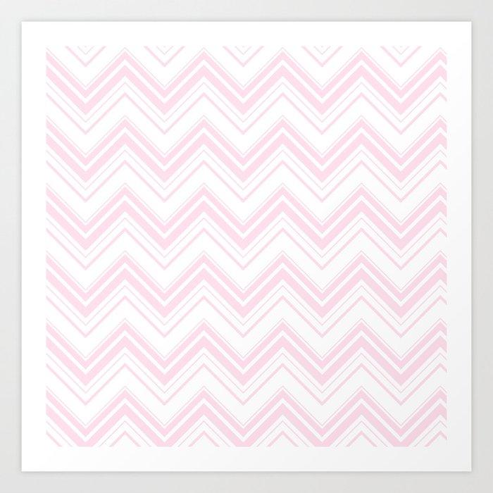 Chevron Zig Zag pattern pink on white on #Society6 Art Print