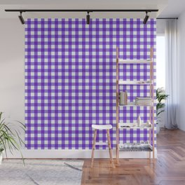 Gingham Print - Purple Wall Mural
