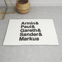 Trance Kings, Armin, Paul, Gareth, Sander and Markus  - Designed for Trance lovers (white version) Rug