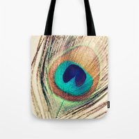 peacock feather Tote Bags featuring Peacock Feather  by Laura Ruth