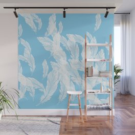 Baby blue feathers Wall Mural