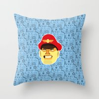 street fighter Throw Pillows featuring Bison - Street Fighter by Kuki