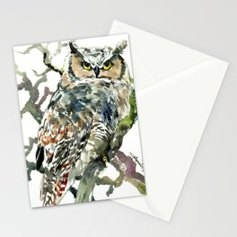 Great Horned Owl in Woods, woodland owl Stationery Cards