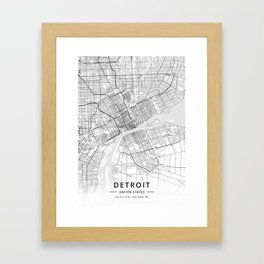 Detroit, United States - Light Map Framed Art Print