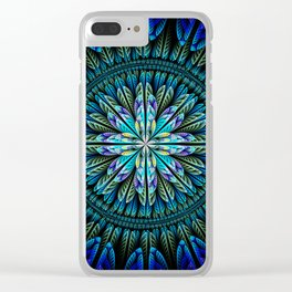 Blue fantasy flower and petals Clear iPhone Case