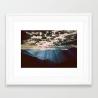 mountains Framed Art Prints featuring mountainS Dark Sunset by 2sweet4words Designs