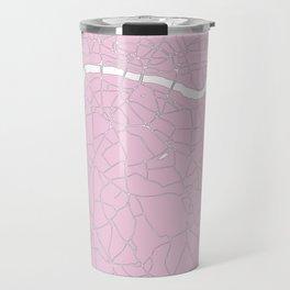 London Pink on White Street Map Travel Mug