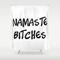 namaste Shower Curtains featuring Namaste by I Love Decor