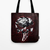punisher Tote Bags featuring Punisher 1 by Beastie Toyz