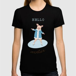 hello winter with cute piggy T-shirt