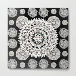 Two White-Silver Mandalas Patterned Textile Metal Print
