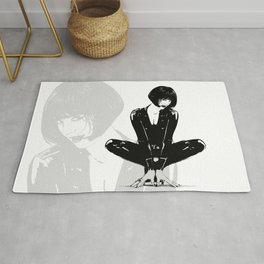 Yoga Women Superhero Wearing Black Latex Suit Rug