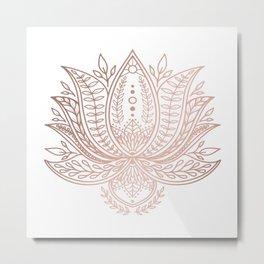 Botanical Lotus - Rose Gold Metal Print