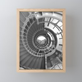 Gray's Harbor Lighthouse Stairwell Spiral Architecture Washington Nautical Coastal Black and White Framed Mini Art Print