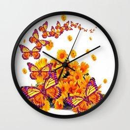 PURPLE-GOLDEN MONARCH BUTTERFLIES FLORAL Wall Clock