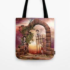 Cute playing fairys in the sunset Tote Bag