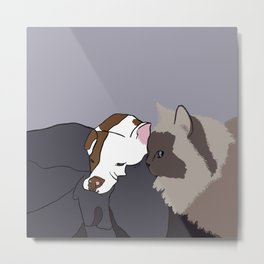 A Pit Bull and Her Kitty Metal Print