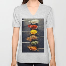 Colorful spices in metal spoons Unisex V-Neck