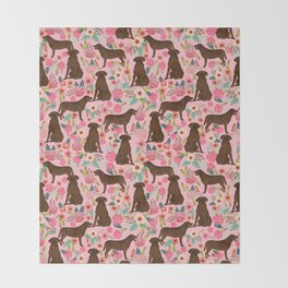 Chocolate Labrador Retriever dog floral gifts must haves chocolate lab lover Throw Blanket