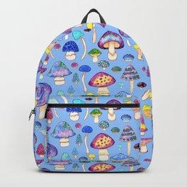 Watercolor Mushroom Pattern on Blue Backpack