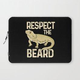 Respect The Beard - Funny Bearded Dragon Lizard Pet Illustration Laptop Sleeve