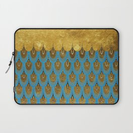 Blue and Gold Mermaid Scales Dreams Laptop Sleeve