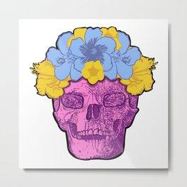 Cute Pink Skull with Flower Crown Metal Print