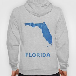 Florida map outline Corn flower blue colorful watercolor Hoody
