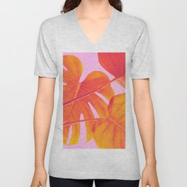 Monstera Quench - Pink & Orange Unisex V-Neck