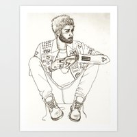zayn Art Prints featuring Zayn by harrydoodles