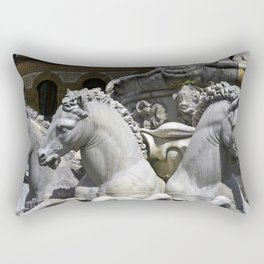 Horses Of Neptunes Fountain , Florence Italy Rectangular Pillow