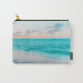 Ocean Bliss, Nature Landscape Sea Travel Tropical, Nordic Luxe Photography Pastel Island Digital Carry-All Pouch