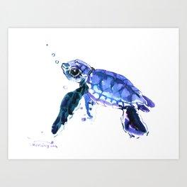 Cute Baby Turtle, blue  turtle art, turtle illustration nursery children gift Art Print