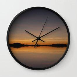 Sunset Salar de Uyuni 7 - Bolivia - Landscape and Rural Art Photography Wall Clock
