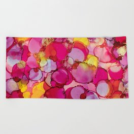 Bed of Roses Alcohol Ink Painting Beach Towel