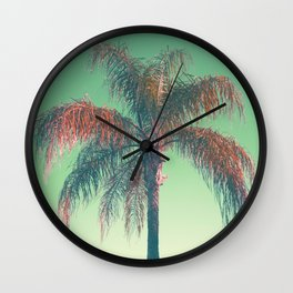 Red palm tree Wall Clock