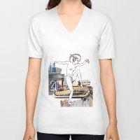 metropolis V-neck T-shirts featuring Metropolis by Marieke Schmidt