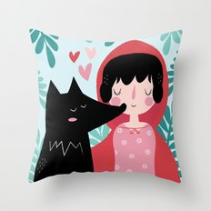 Red Riding Hood and the Wolf Throw Pillow