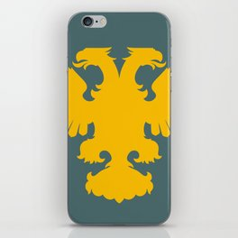 yellow double-headed eagle on a gray-blue background iPhone Skin