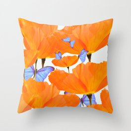 Poppies And Butterflies White Background #decor #society6 #buyart Throw Pillow