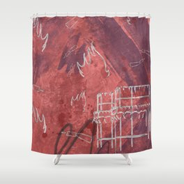 A la luna de Valencia  - Red Shower Curtain