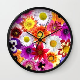 Colorful Spring Flowers Wall Clock