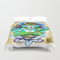 ganesh Duvet Covers featuring Ganesh by Lady Noire