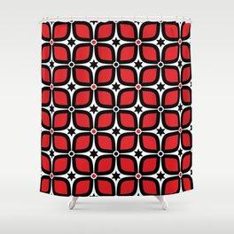 Mid Century Modern 4 Leaf Clover - Black, White, Red Shower Curtain