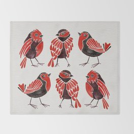 Finches – Red & Black Palette Throw Blanket