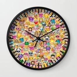 Emoticon pattern Wall Clock