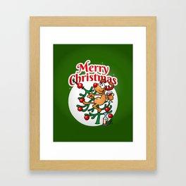 Reindeer in a Christmas tree Framed Art Print